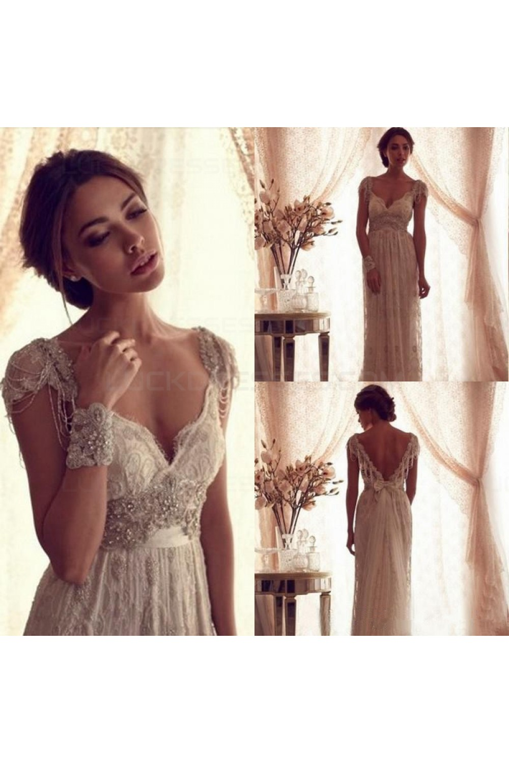Sheath/Column V-neck Sleeveless Lace Wedding Dress