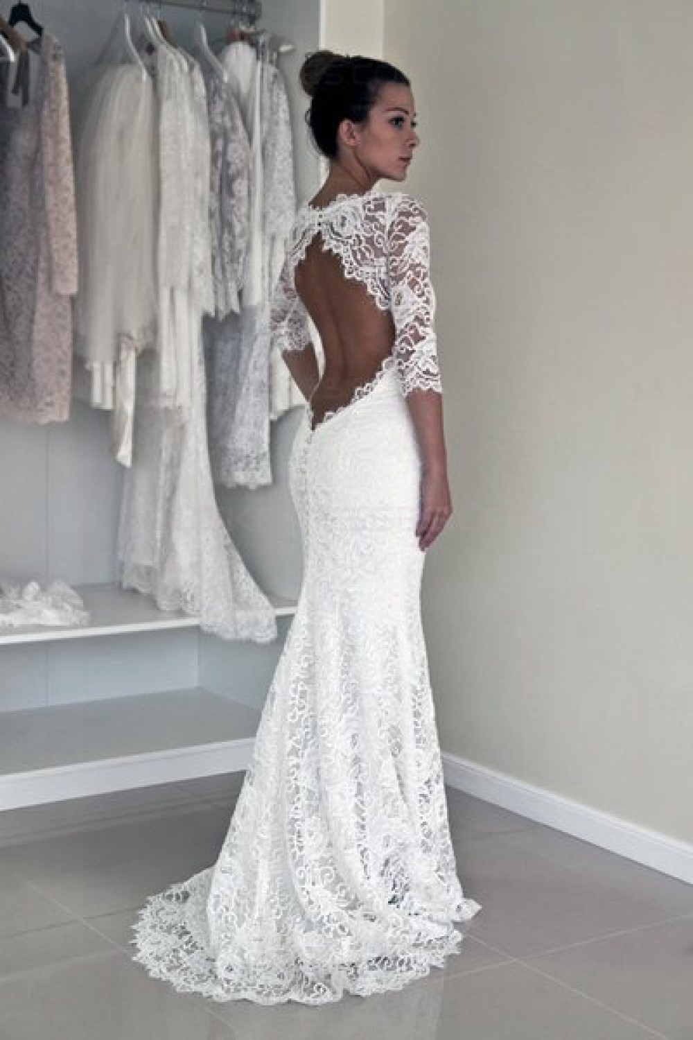 Trumpet/Mermaid Scoop Half Sleeve Lace Wedding Dress