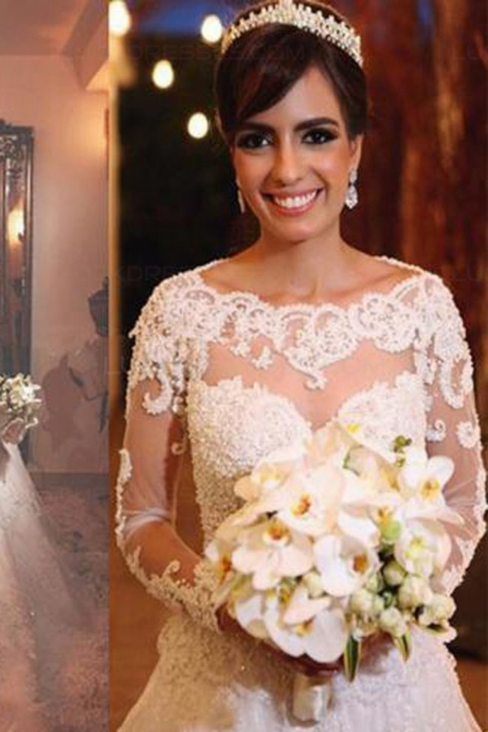 A-line Square Long Sleeve Lace Wedding Dress