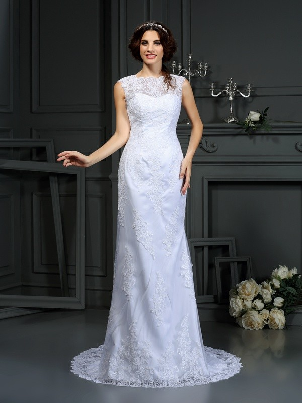 Sheath/Column High Neck Sleeveless Lace Wedding Dress