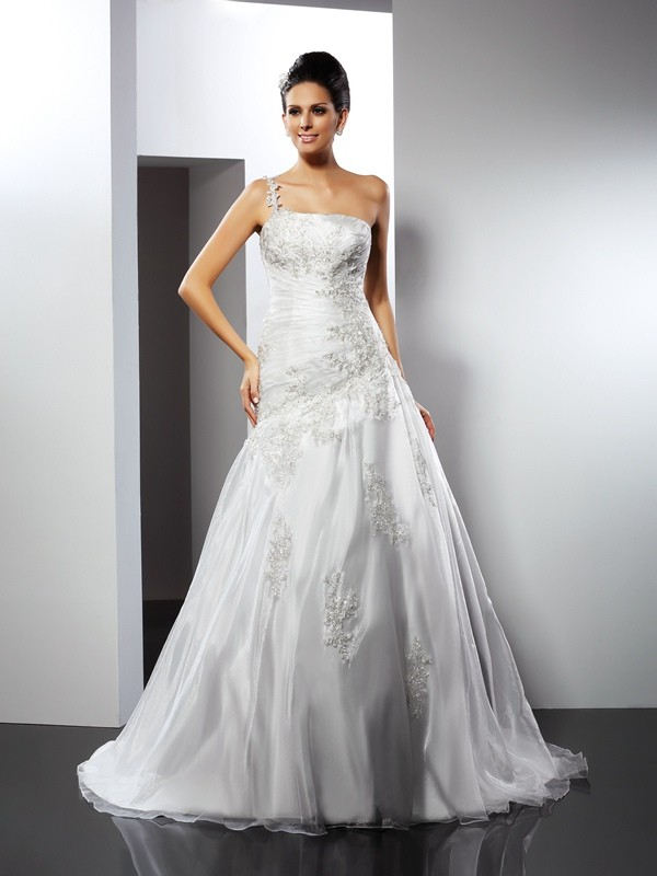 A-line One Shoulder Sleeveless Satin Wedding Dress