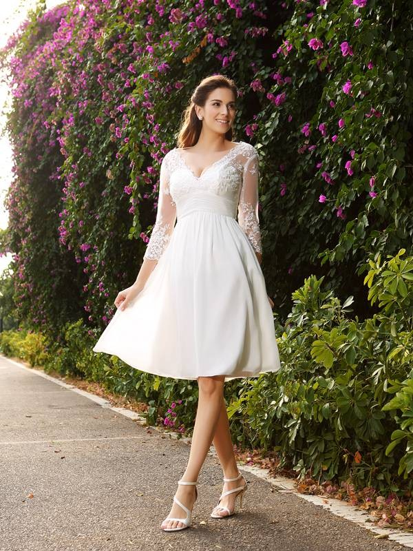A-line V-neck 3/4 Length Sleeve Chiffon Wedding Dress