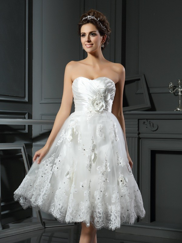 A-line Sweetheart Sleeveless Satin Wedding Dress