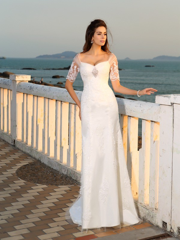 Sheath/Column Sweetheart Short Sleeve Satin Wedding Dress
