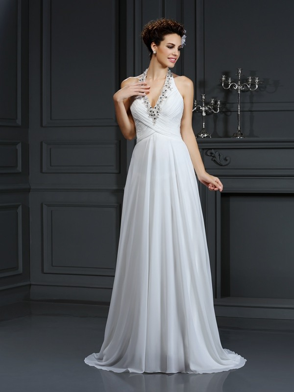 A-line Halter Sleeveless Chiffon Wedding Dress