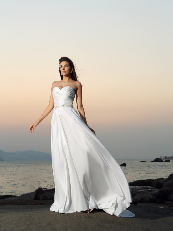 A-line Sweetheart Sleeveless Taffeta Wedding Dress