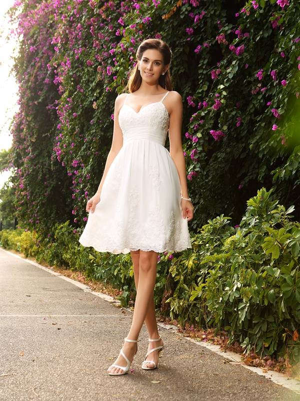 A-line Spaghetti Straps Sleeveless Lace Wedding Dress