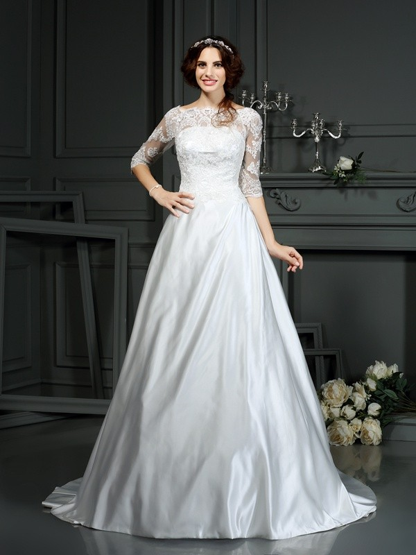 A-line Bateau Sleeveless Satin Wedding Dress