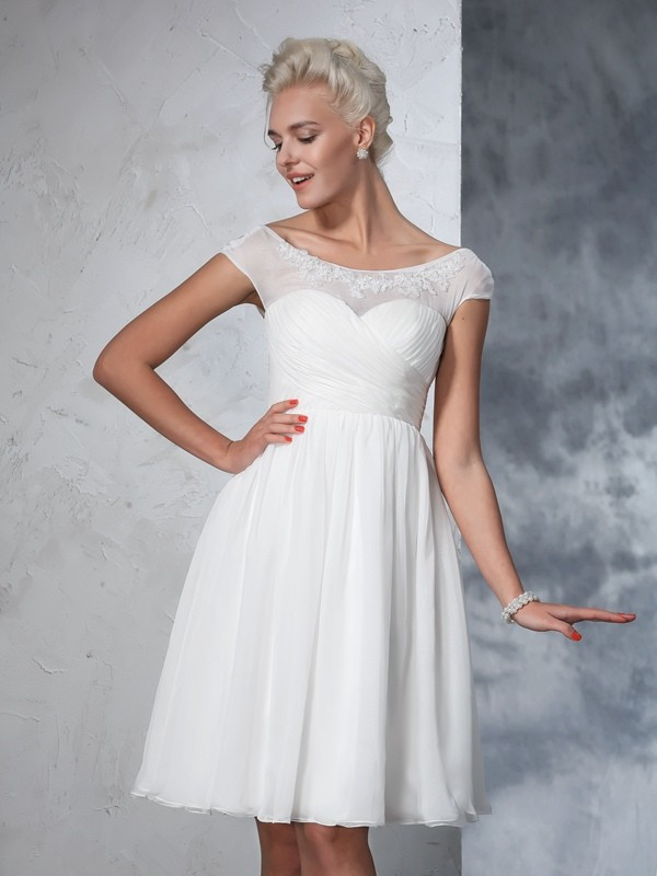 A-line Scoop Short Sleeve Chiffon Wedding Dress