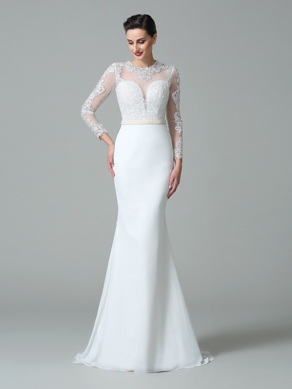 Trumpet/Mermaid Jewel Long Sleeve Chiffon Wedding Dress