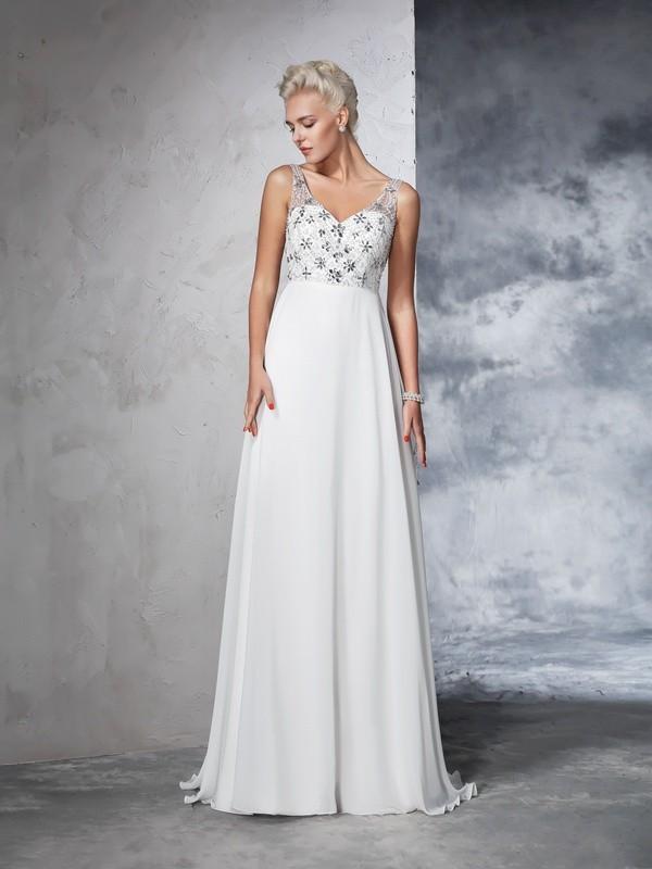 A-line V-neck Sleeveless Chiffon Wedding Dress