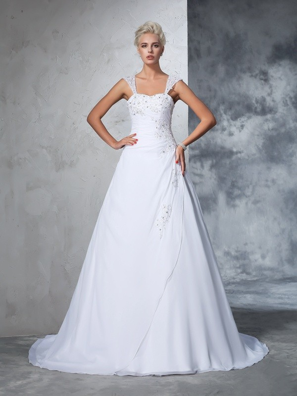 Ball Gown Sweetheart Sleeveless Chiffon Wedding Dress