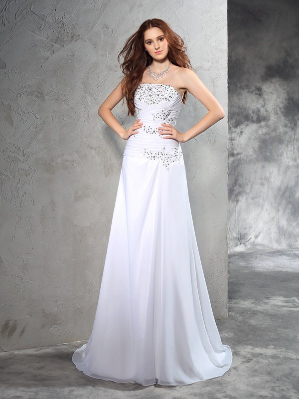Sheath/Column Strapless Sleeveless Chiffon Wedding Dress