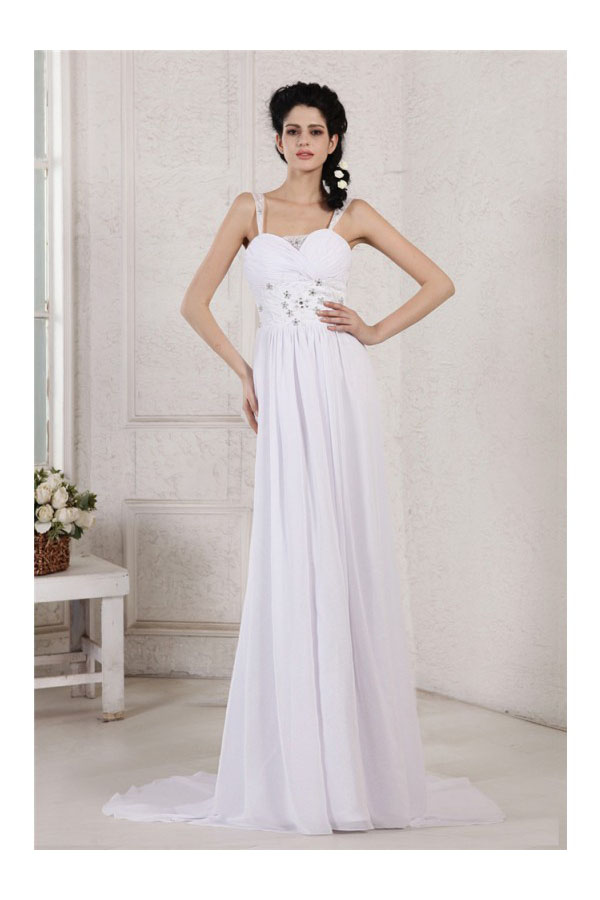 Sheath/Column Spaghetti Straps Sleeveless Chiffon Wedding Dress