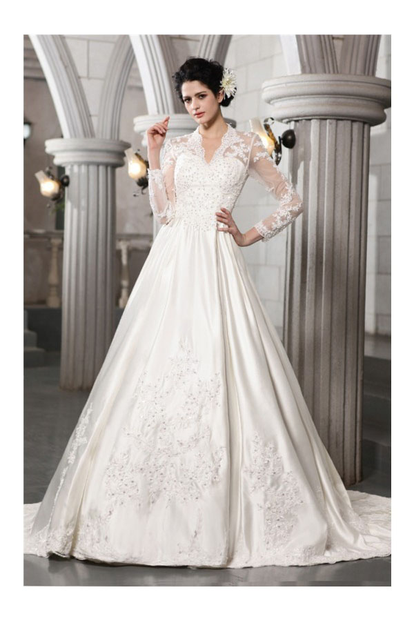 A-line V-neck Long Sleeve Satin Wedding Dress