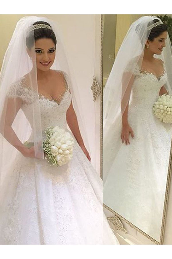 Ball Gown V-neck Short Sleeve Tulle Wedding Dress