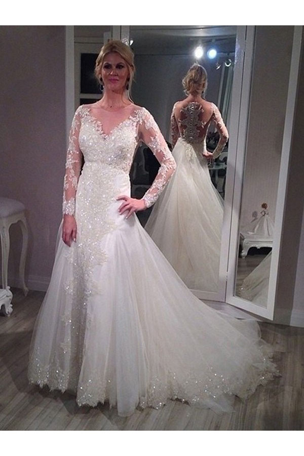 A-line V-neck Long Sleeve Tulle Wedding Dress