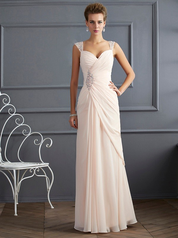 Sheath/Column Sweetheart Sleeveless Chiffon Dress