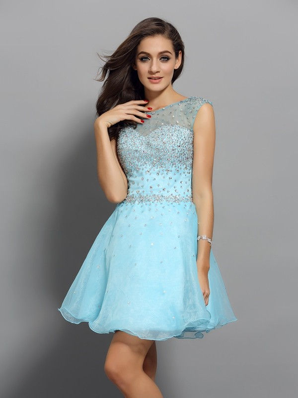 A-line Scoop Sleeveless Organza Dress
