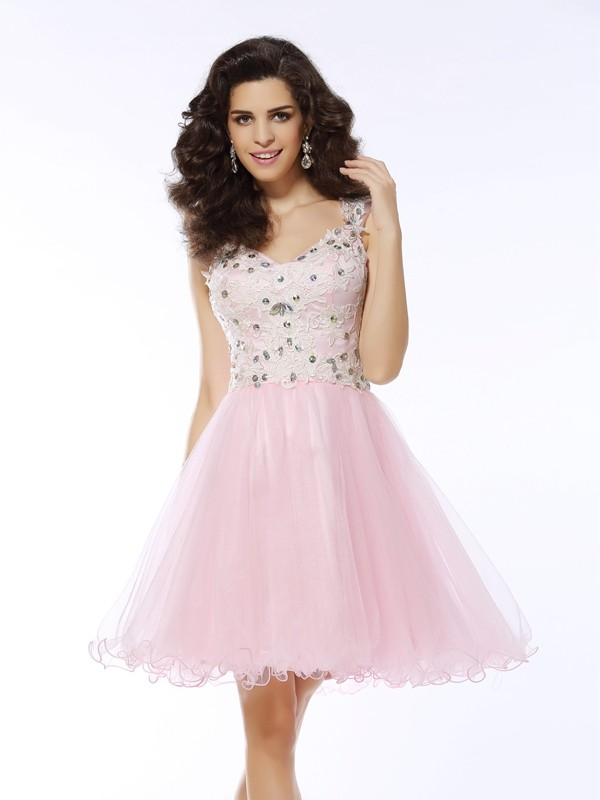 A-line V-neck Sleeveless Tulle Dress
