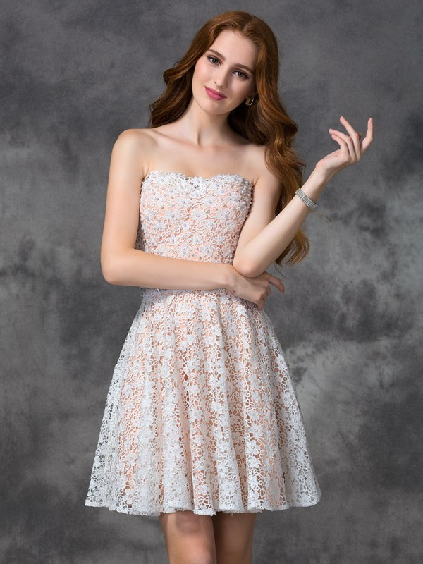 A-line Strapless Sleeveless Lace Dress