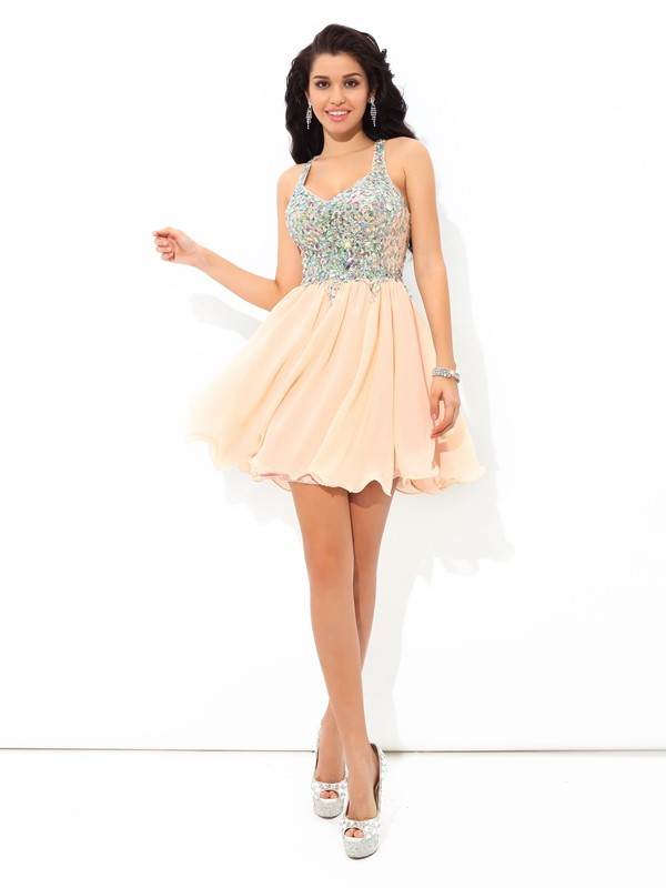 A-line Spaghetti Straps Sleeveless Chiffon Dress