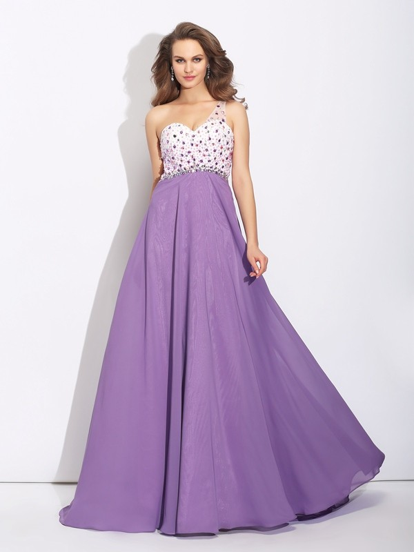 A-line One Shoulder Sleeveless Chiffon Dress