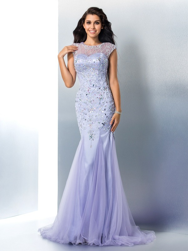 Trumpet/Mermaid Jewel Sleeveless Tulle Dress