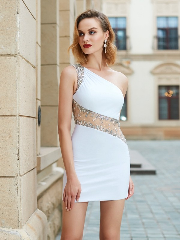 Sheath/Column One Shoulder Sleeveless Stretch Satin Dress