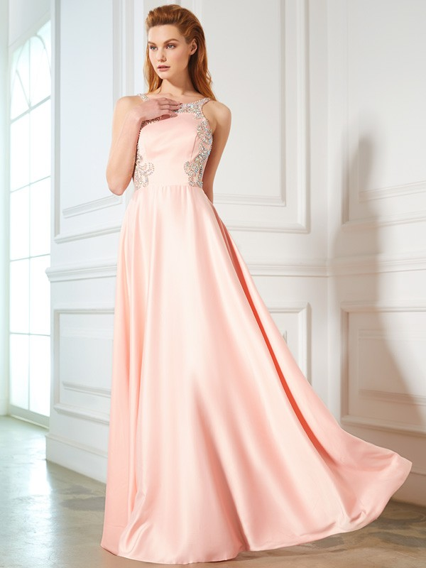 A-line Scoop Sleeveless Satin Dress