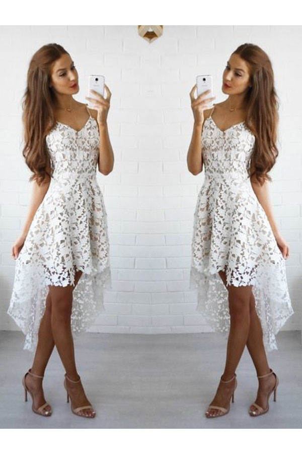 A-line Spaghetti Straps Sleeveless Lace Dress