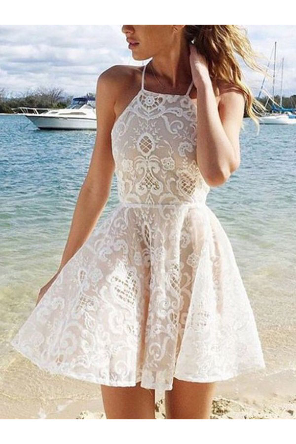 A-line Halter Sleeveless Lace Dress
