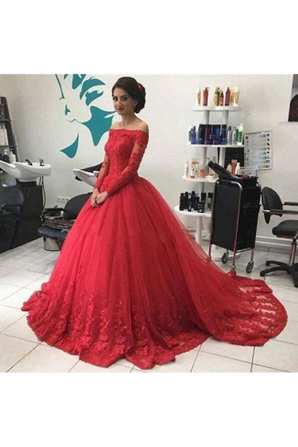 Ball Gown Off-the-shoulder Long Sleeve Tulle Dress