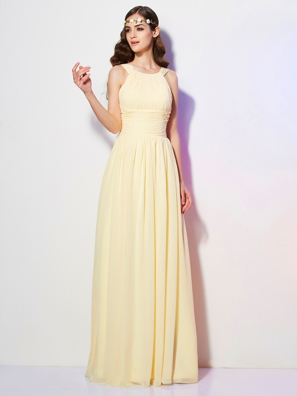 A-line Bateau Sleeveless Chiffon Dress