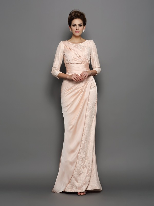 Trumpet/Mermaid Bateau 3/4 Length Sleeve Chiffon Mother of the Bride Dress
