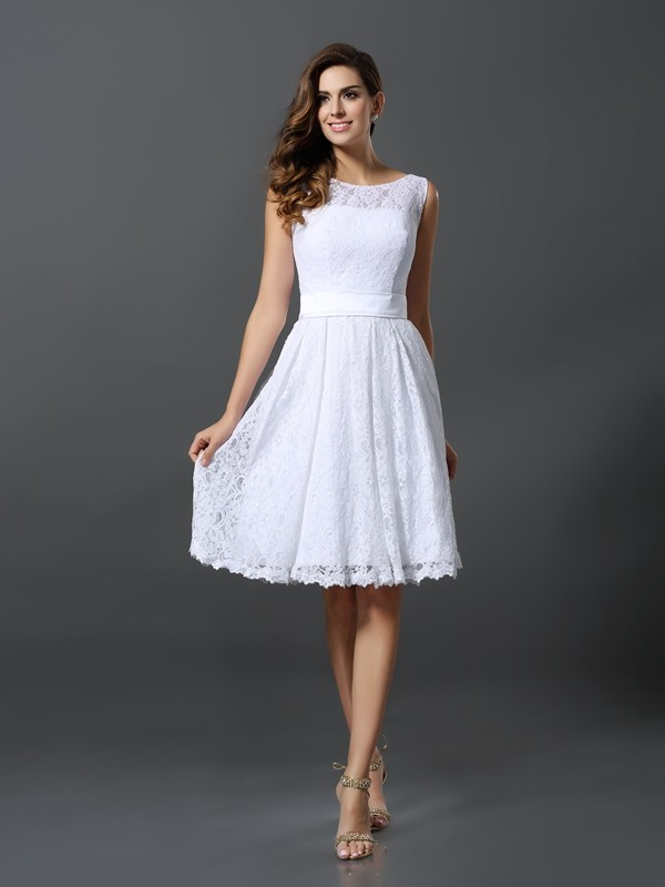A-line Scoop Sleeveless Lace Dress