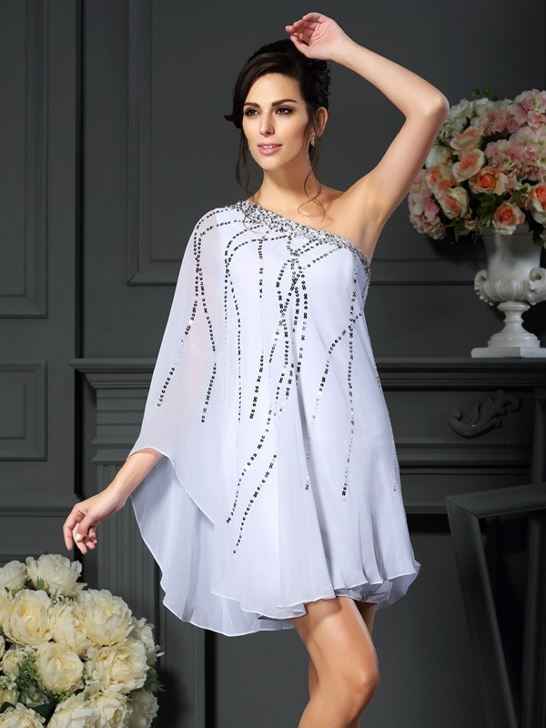 A-line One Shoulder Sleeveless Chiffon Mother of the Bride Dress