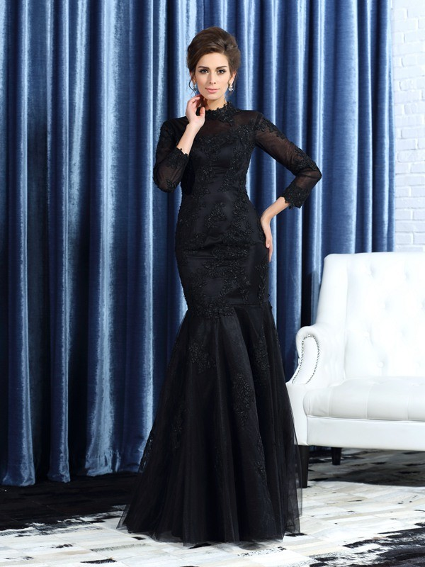 Trumpet/Mermaid High Neck Long Sleeve Tulle Mother of the Bride Dress