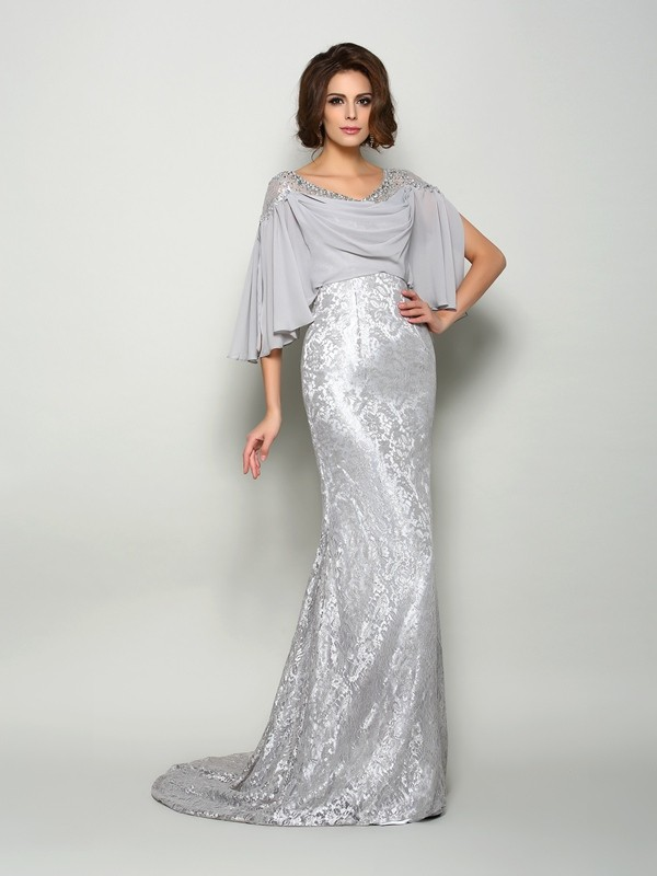 Trumpet/Mermaid Scoop Half Sleeve Chiffon Mother of the Bride Dress