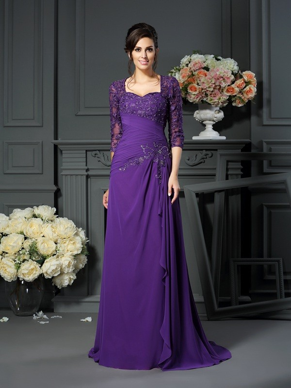 A-line Sweetheart Half Sleeve Chiffon Mother of the Bride Dress