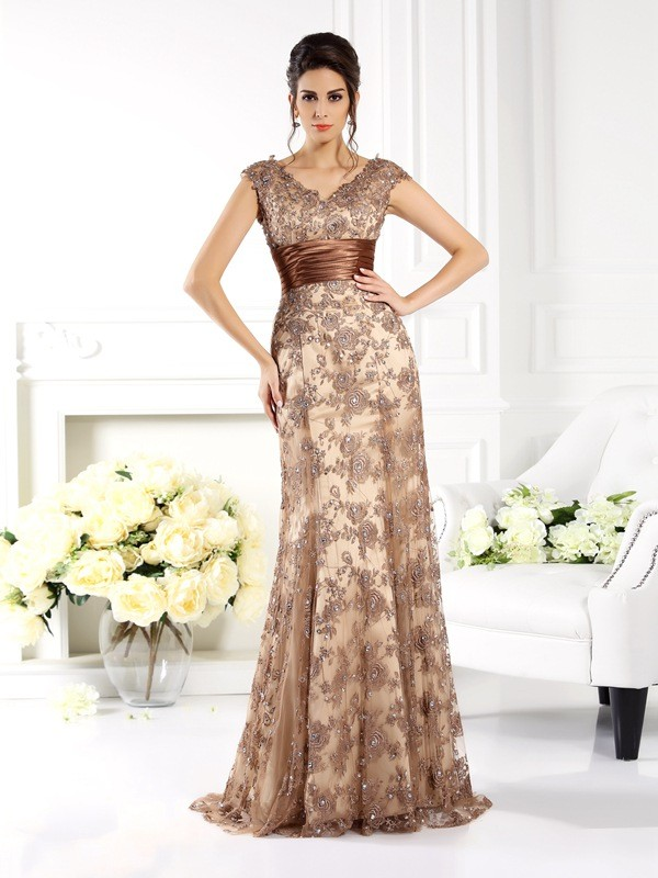 A-line V-neck Sleeveless Lace Mother of the Bride Dress