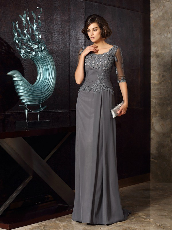 A-line Scoop Half Sleeve Chiffon Mother of the Bride Dress