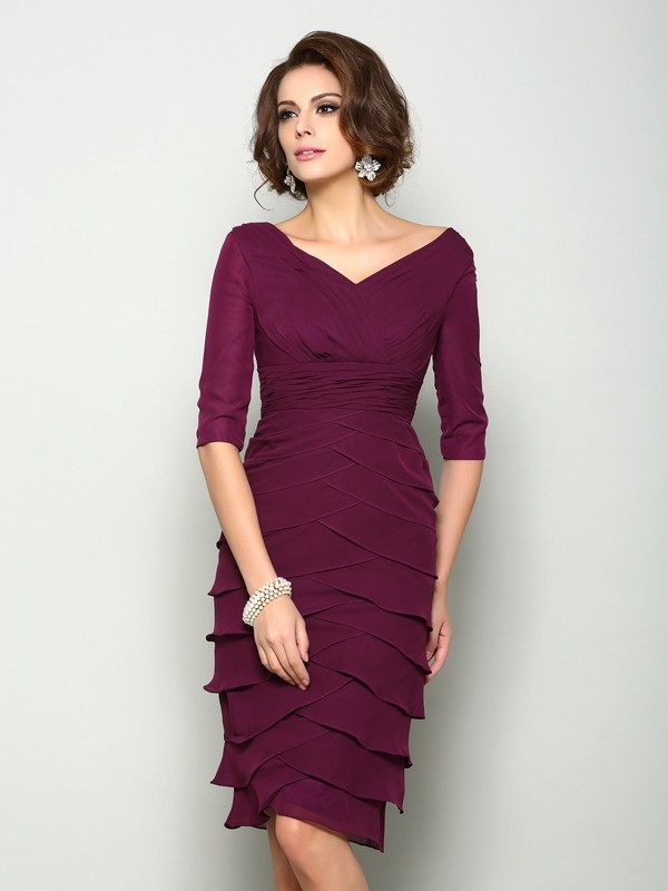 Sheath/Column V-neck Half Sleeve Chiffon Mother of the Bride Dress