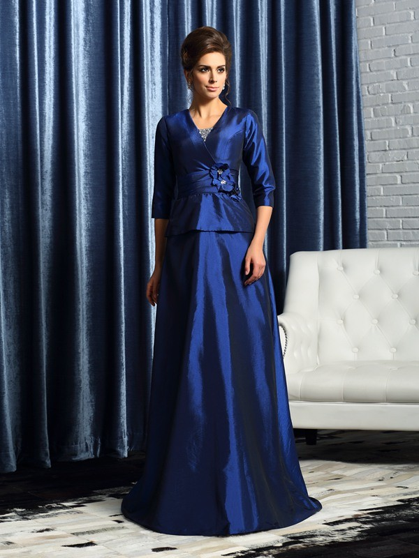 A-line V-neck Half Sleeve Taffeta Mother of the Bride Dress