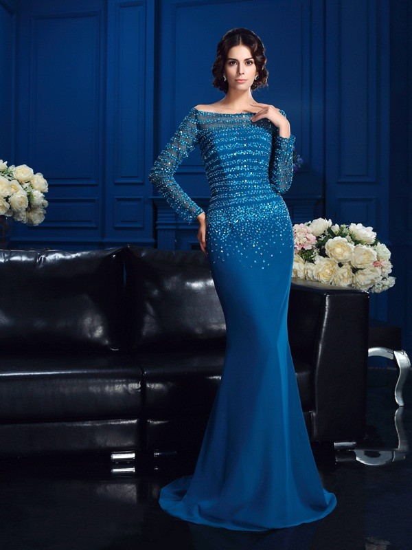 Sheath/Column Off-the-shoulder Long Sleeve Chiffon Mother of the Bride Dress
