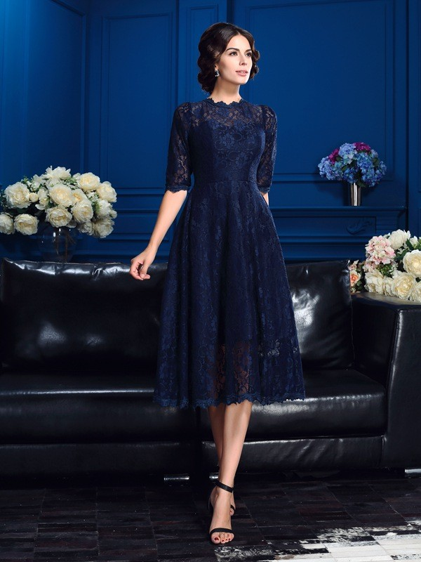 A-line High Neck Half Sleeve Lace Mother of the Bride Dress