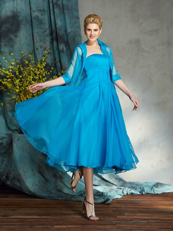 A-line Strapless Sleeveless Chiffon Mother of the Bride Dress