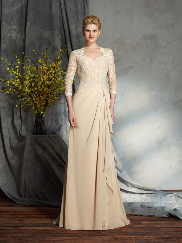 A-line Sweetheart 3/4 Length Sleeve Chiffon Mother of the Bride Dress