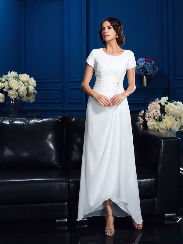 A-line Scoop Short Sleeve Chiffon Mother of the Bride Dress