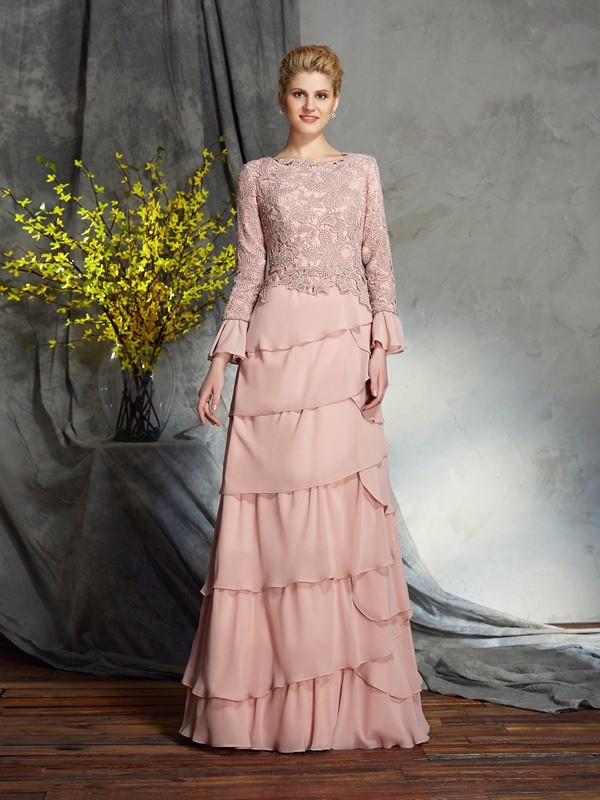 Sheath/Column Scoop Long Sleeve Chiffon Mother of the Bride Dress